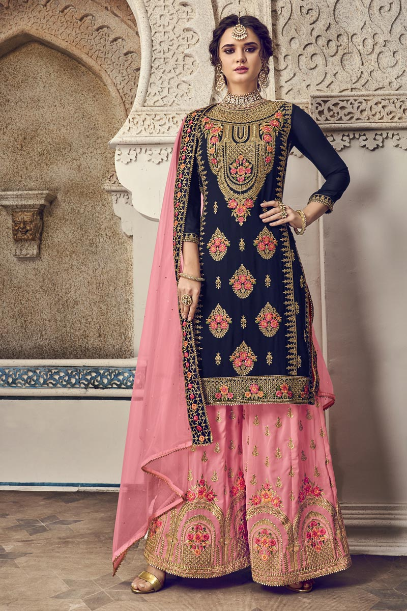 Navy Blue Color Function Wear Designer Embroidered Palazzo Suit In Georgette Fabric
