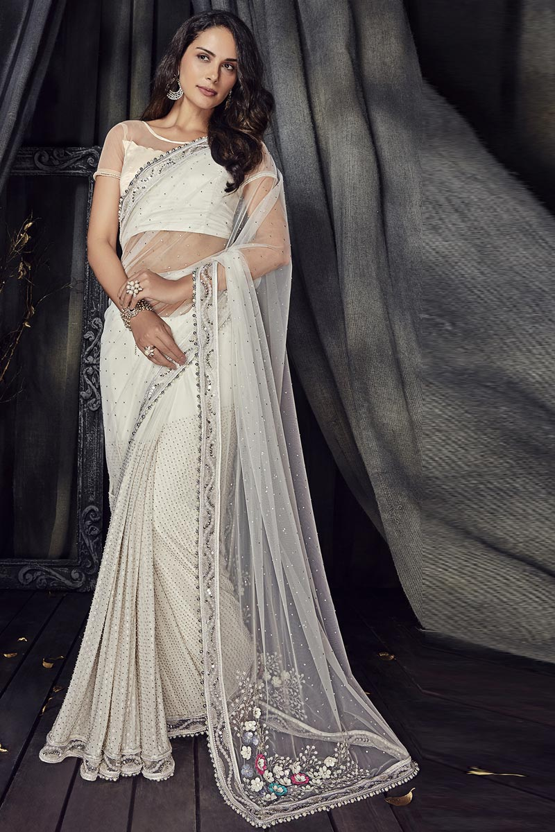 Fancy Fabric Off White Designer Saree With Embroidery Work