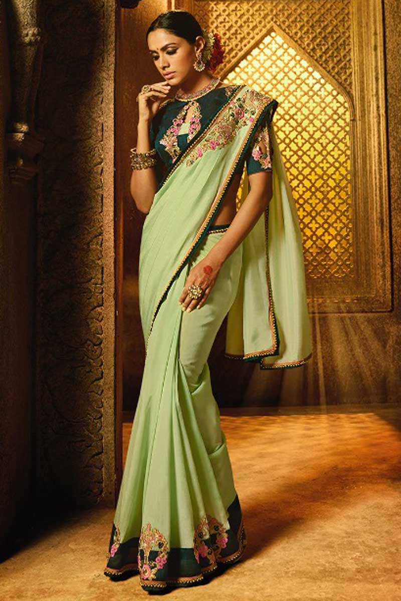 Embroidery Designs On Sea Green Art Silk Party Wear Saree