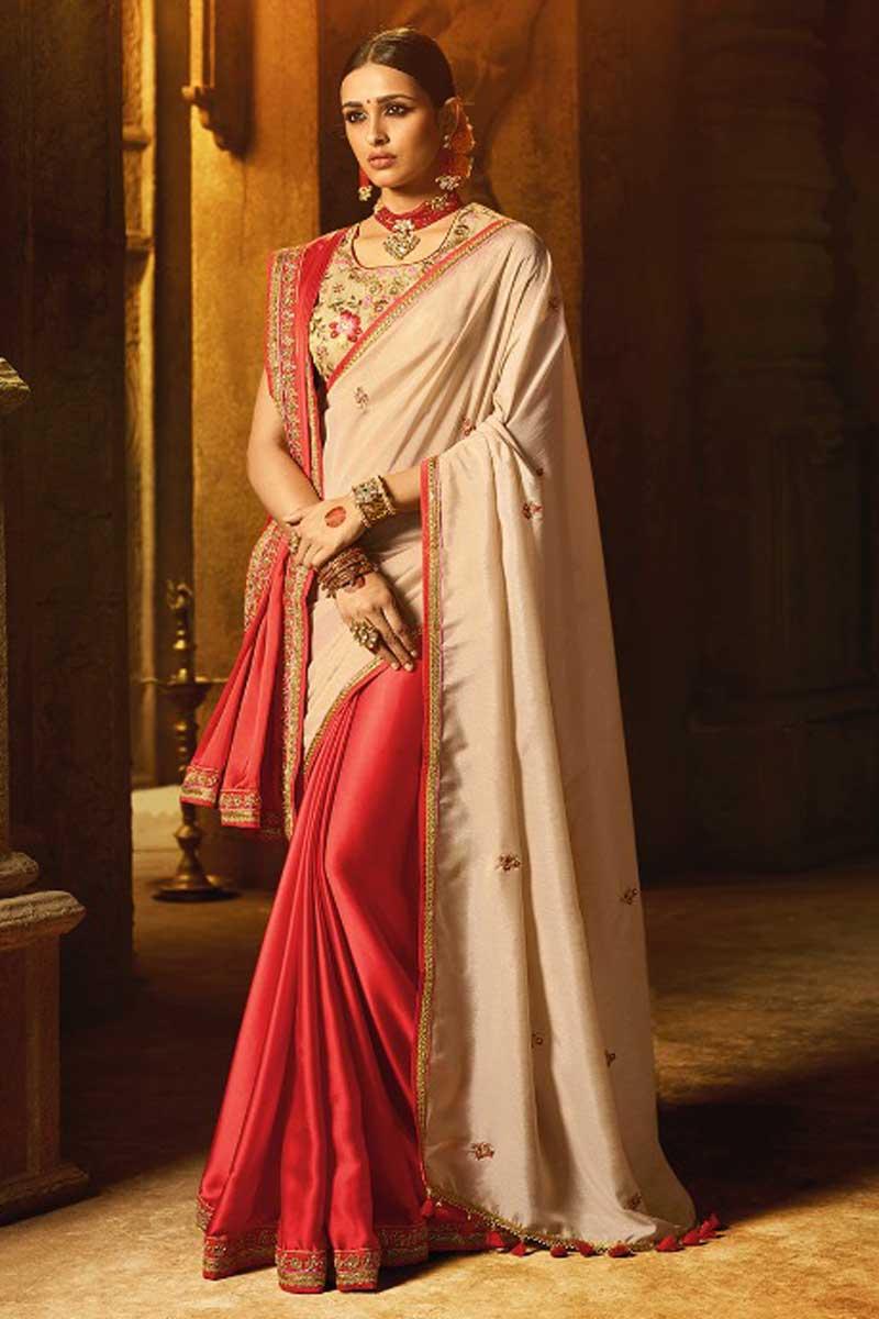 Art Silk Cream Occasion Wear Embroidered Saree