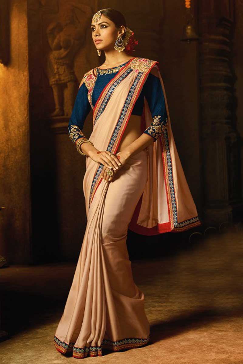 Occasion Wear Chikoo Color Embroidered Art Silk Saree