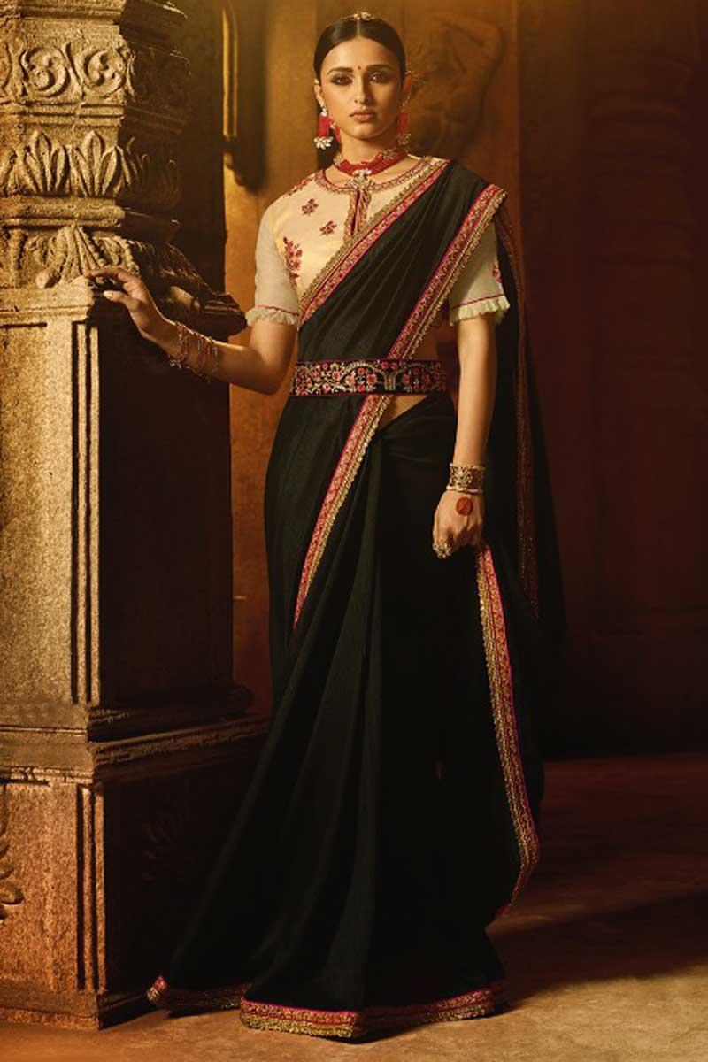 Black Embroidery Work Function Wear Art Silk Saree