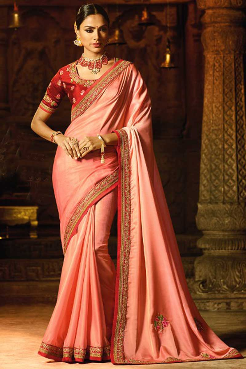 Embroidery Party Wear Art Silk Saree In Pink