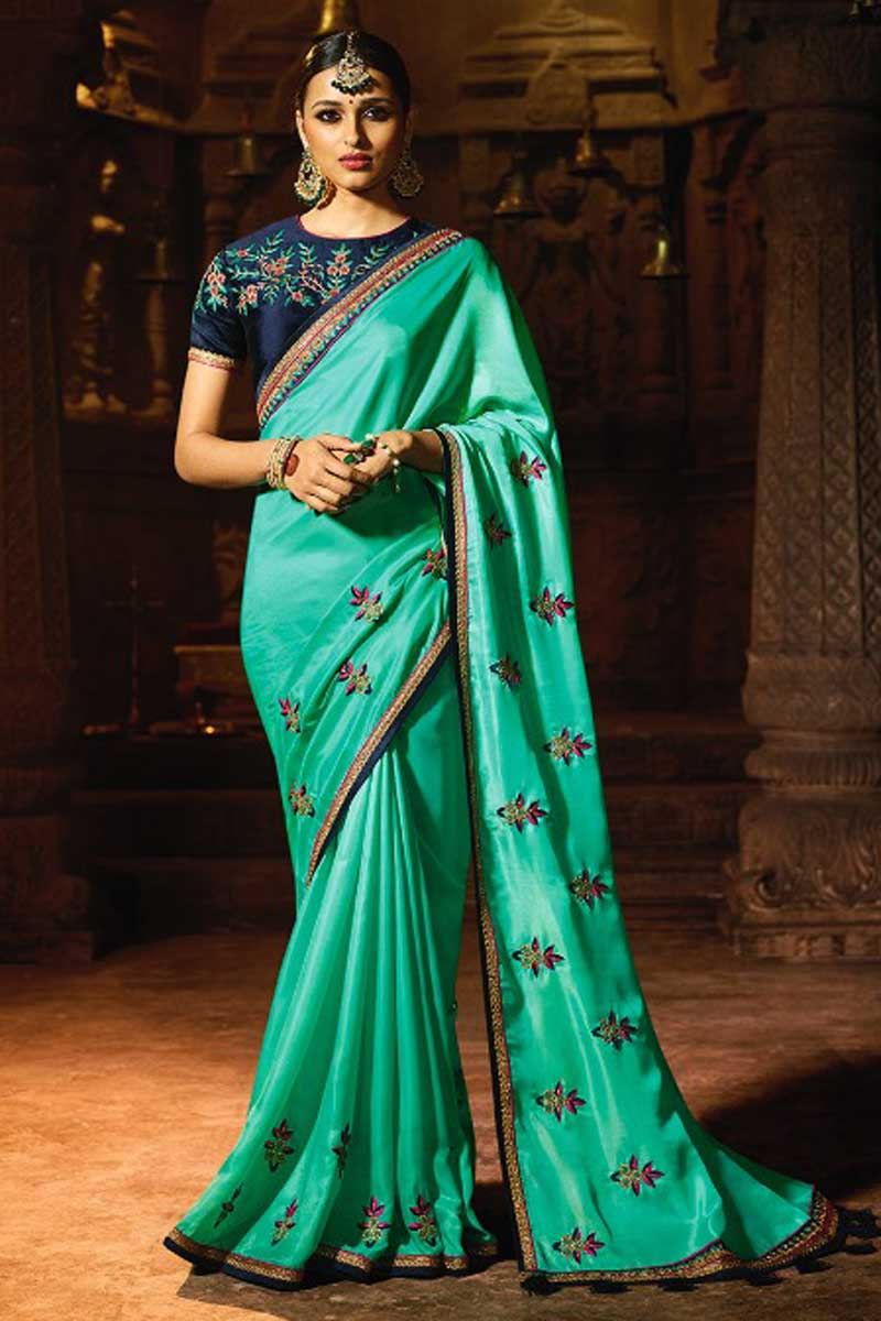 Embroidery On Cyan Party Wear Saree In Art Silk Fabric