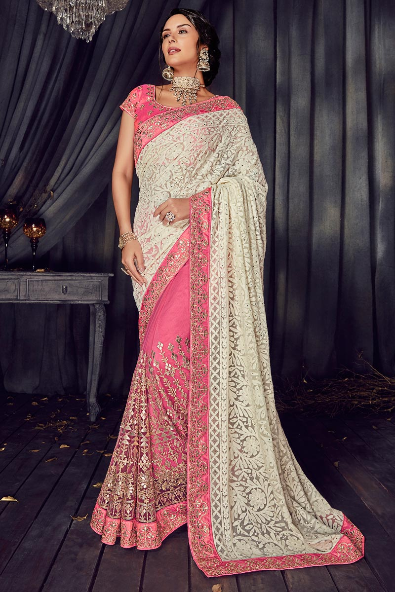 Pink Fancy Fabric Occasion Wear Saree With Embroidery Work