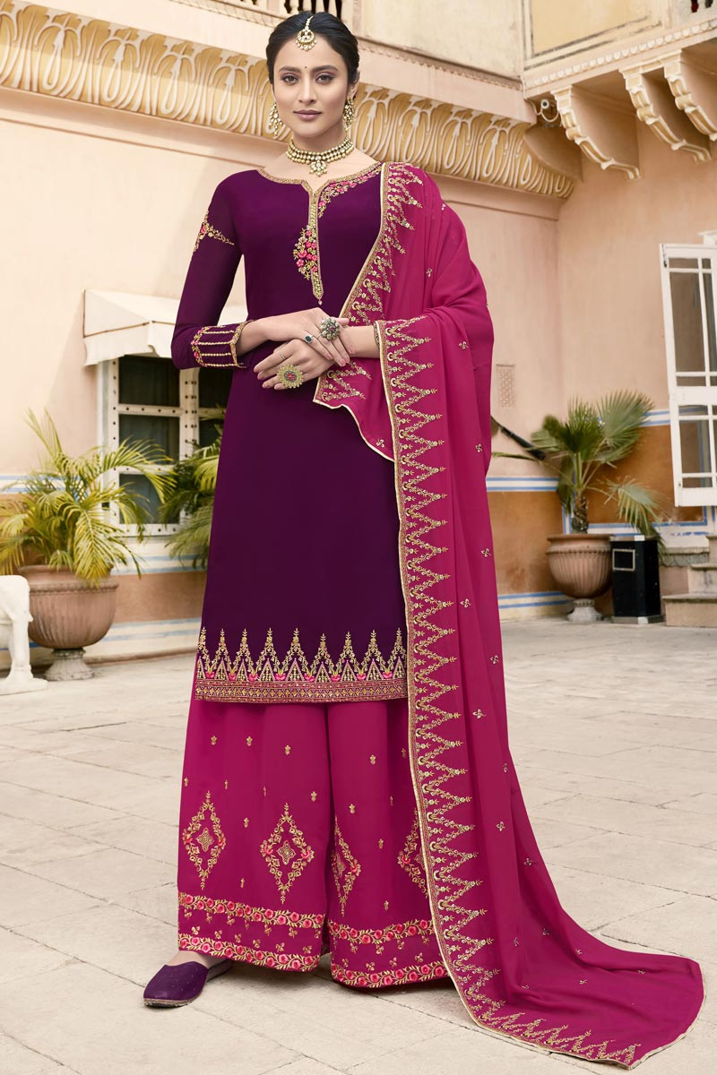 Eid Special Fancy Sangeet Wear Purple Georgette Embroidered Palazzo Suit