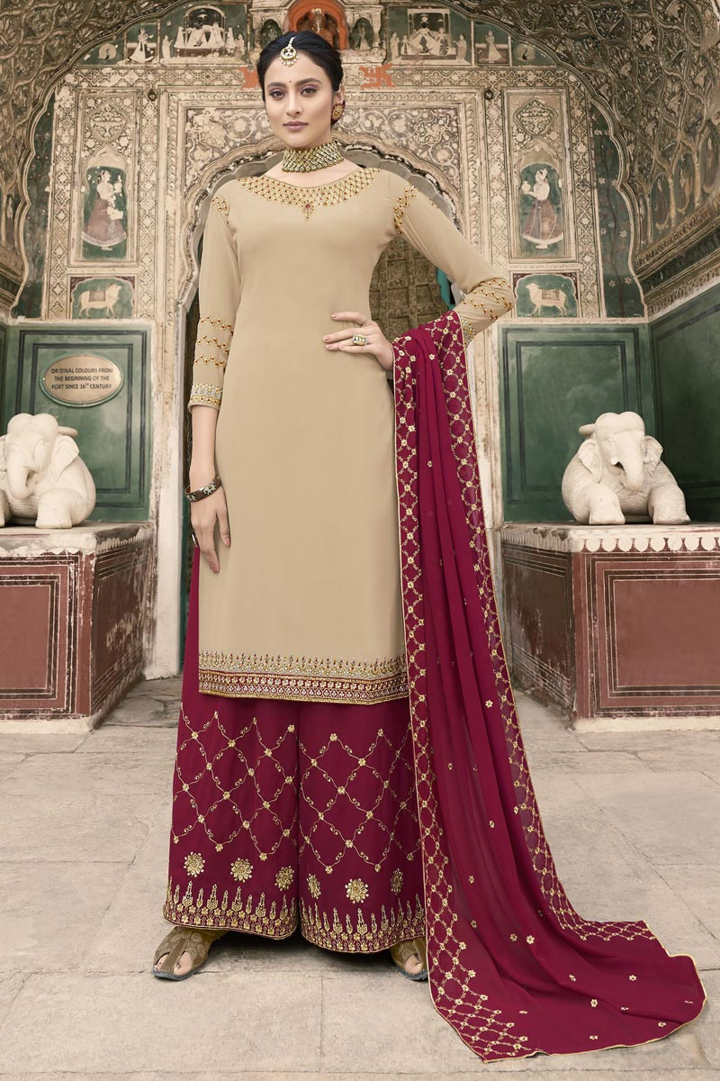 Eid Special Sangeet Wear Georgette Fancy Embroidered Palazzo Dress In Beige