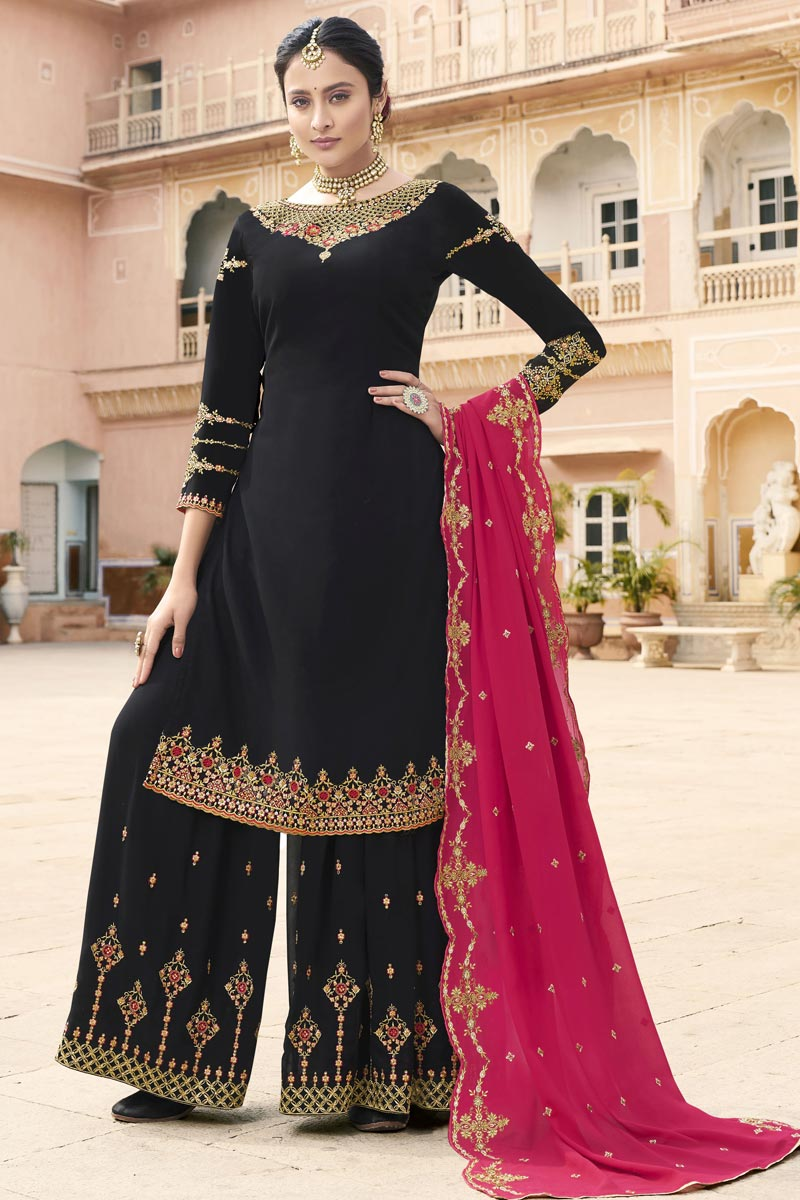 Eid Special Sangeet Wear Georgette Fancy Embroidered Palazzo Dress In Black
