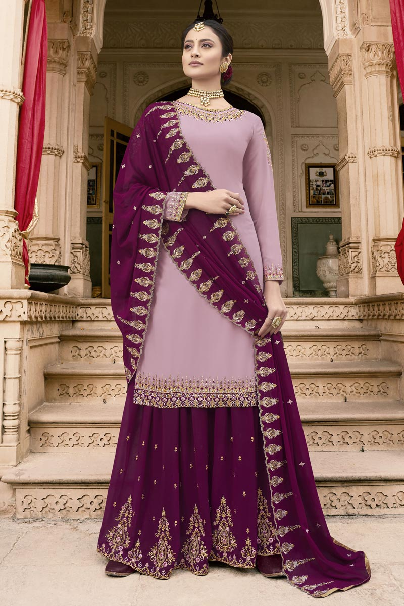 Eid Special Sangeet Wear Lavender Fancy Embroidered Palazzo Dress In Georgette