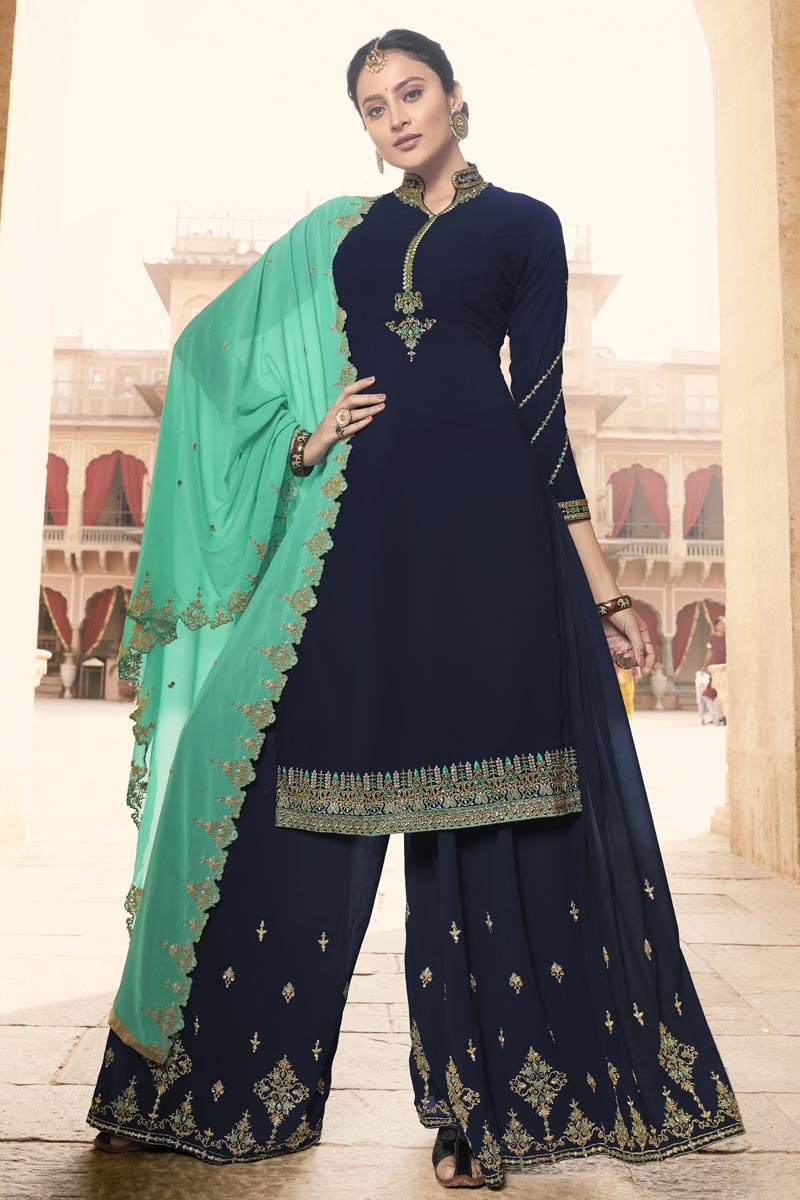 Eid Special Fancy Navy Blue Sangeet Wear Embroidered Georgette Palazzo Suit