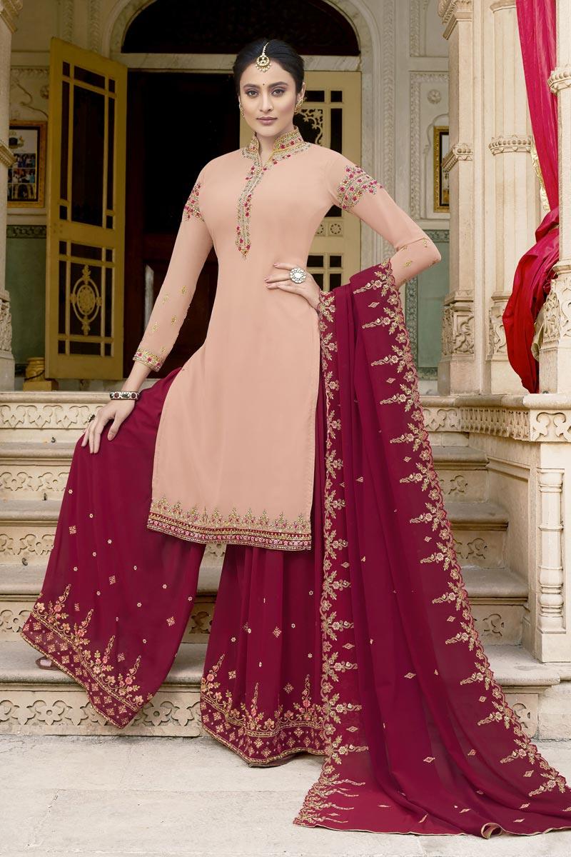 Eid Special Peach Sangeet Wear Fancy Embroidered Palazzo Dress In Georgette