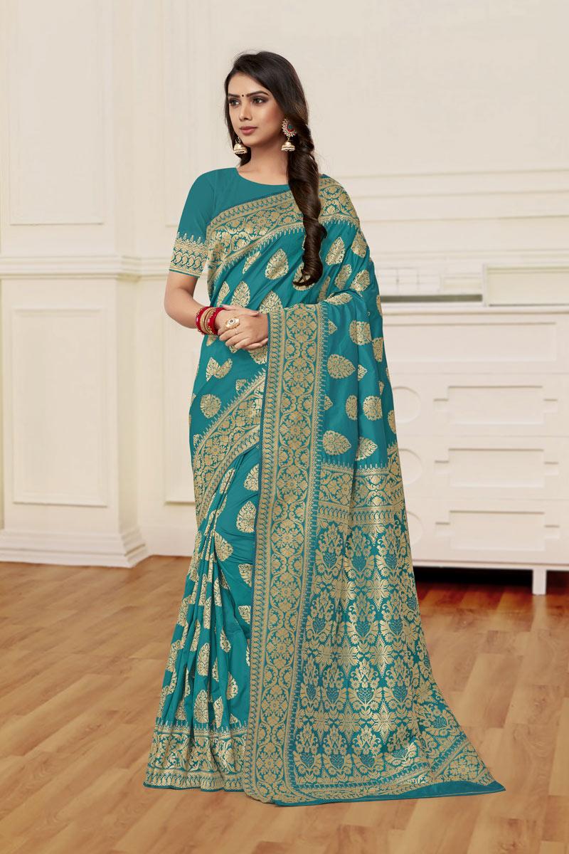 Banarasi Silk Fabric Dark Cyan Color Designer Saree With Weaving Work