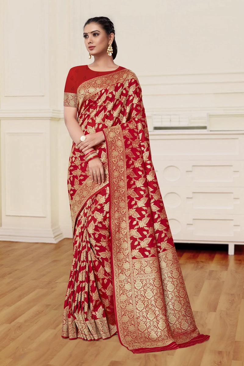 Weaving Work On Red Color Banarasi Silk Fabric Function Wear Saree