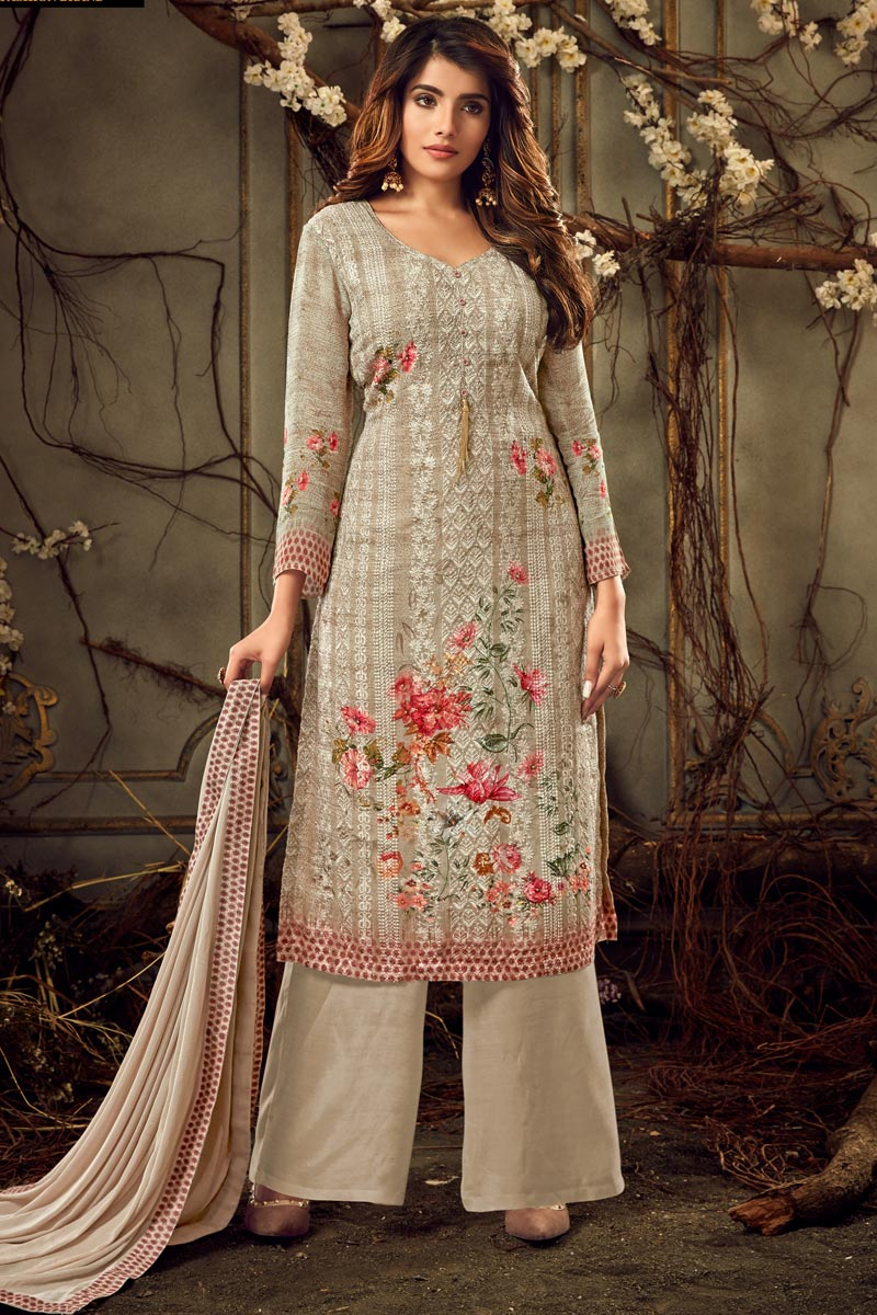 Designer Festive Wear Cream Color Viscose Fabric Printed Palazzo Suit