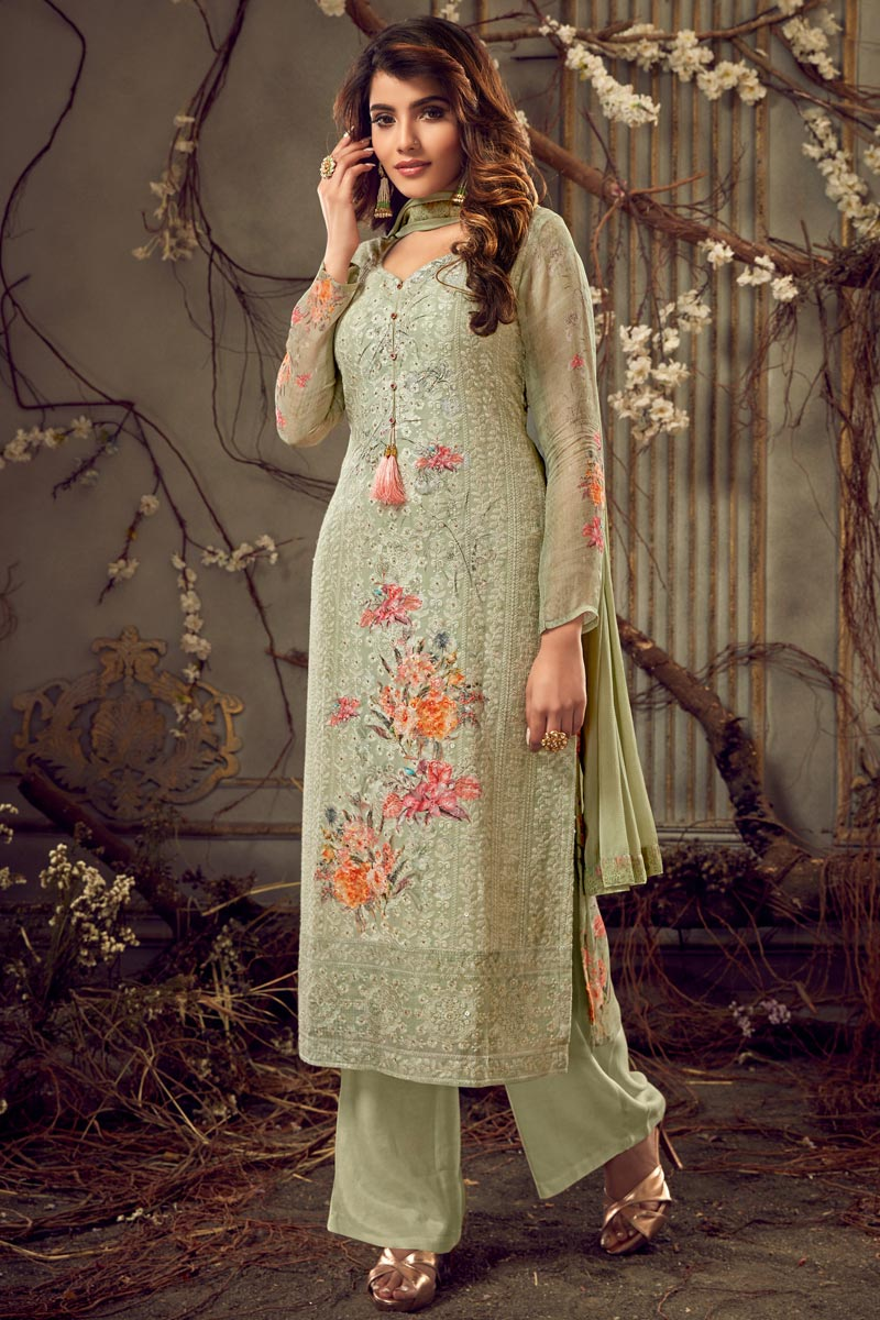 Festive Wear Viscose Fabric Designer Printed Palazzo Dress In Sea Green Color