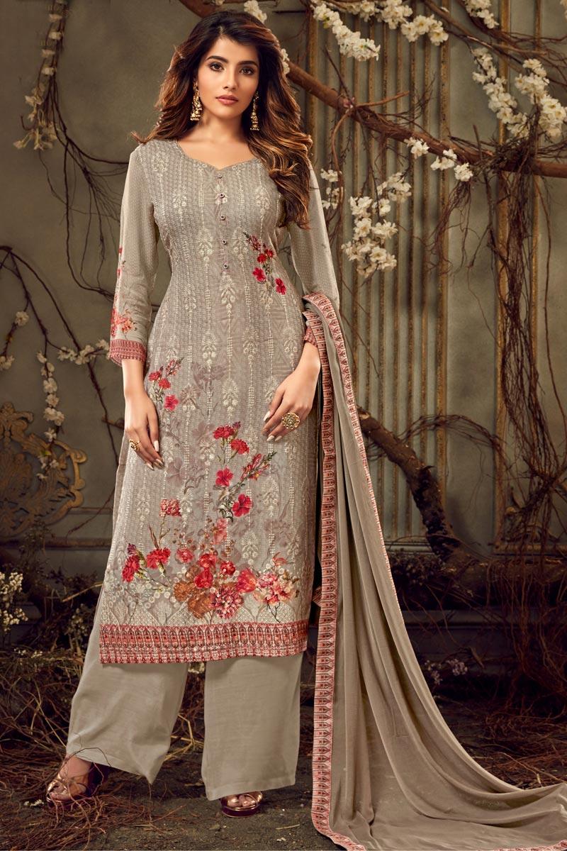 Designer Viscose Fabric Festive Wear Printed Cream Color Palazzo Suit