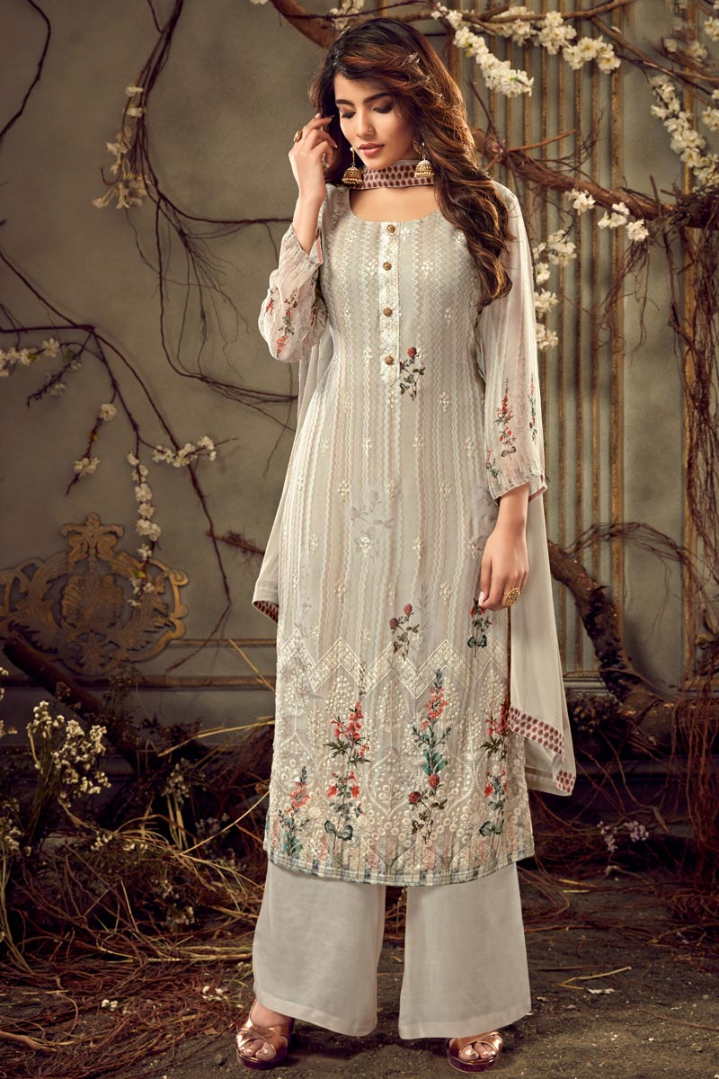 Viscose Fabric Festive Wear Designer Printed Cream Color Palazzo Dress
