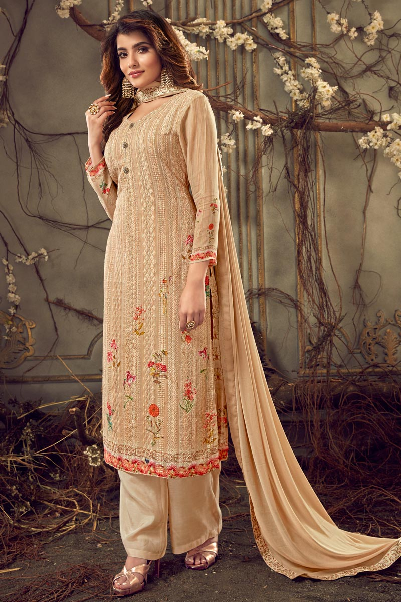 Viscose Fabric Chikoo Color Festive Wear Designer Printed Palazzo Dress