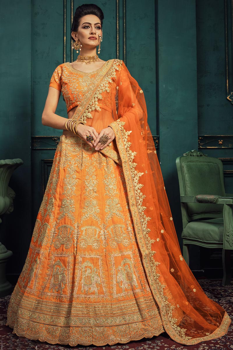 Designer Embroidered Orange Color Sangeet Function Wear Art Silk Fabric Lehenga Choli