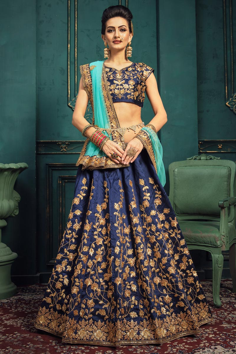 Navy Blue Color Sangeet Function Wear Art Silk Fabric Embroidered Designer Lehenga