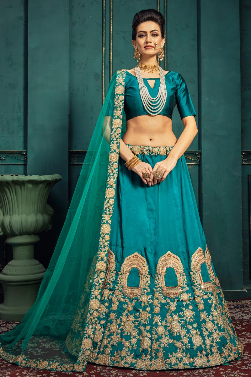 Sangeet Function Wear Art Silk Fabric Embroidered Cyan Color Designer Lehenga Choli