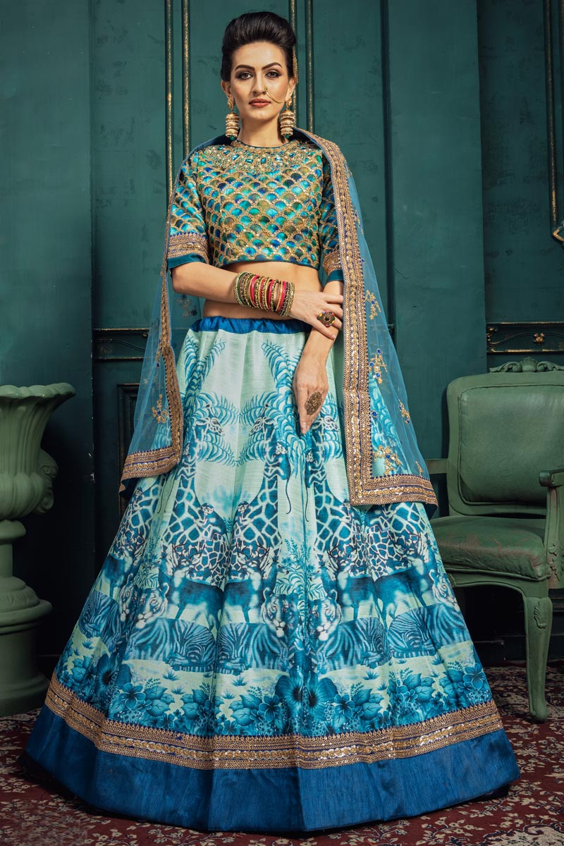 Art Silk Fabric Sangeet Function Wear Designer Embroidered Sky Blue Color Lehenga