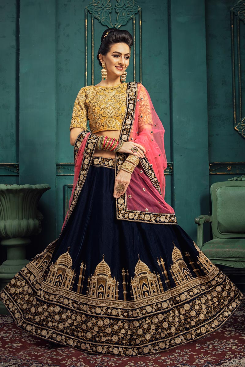 Art Silk Fabric Sangeet Function Wear Designer Embroidered Navy Blue Color Lehenga