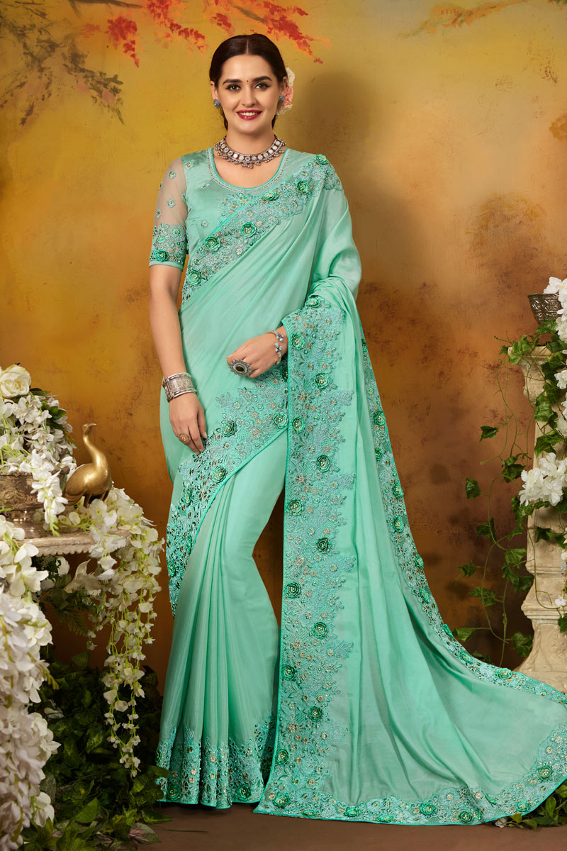 Embroidery Work On Art Silk Designer Saree In Light Cyan With Attractive Blouse