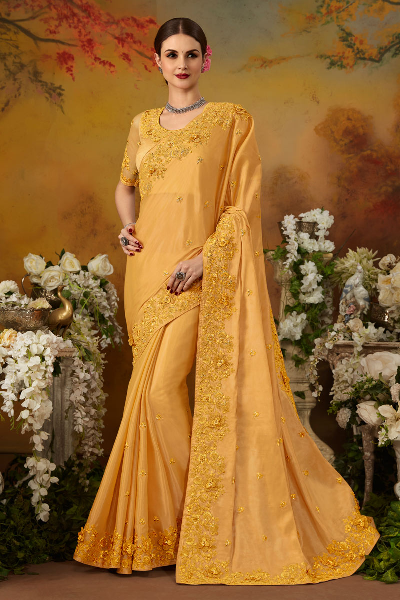 Embroidery Work On Art Silk Mustard Function Wear Saree With Enigmatic Blouse