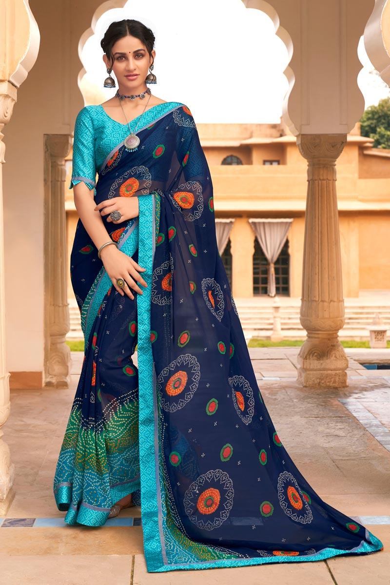 Navy Blue Color Satin Fabric Festive Wear Fancy Bandhej Print Saree