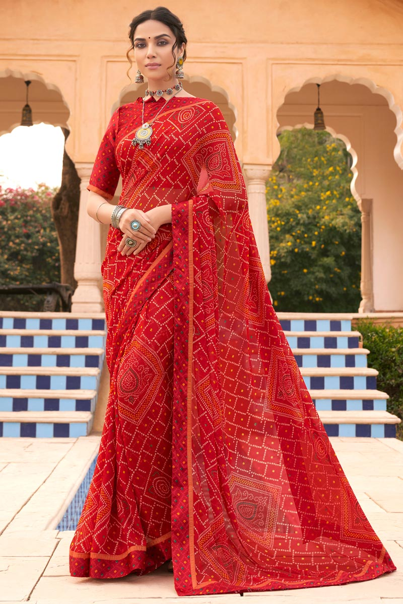 Festive Wear Fancy Bandhani Print Saree In Red Color Satin Fabric
