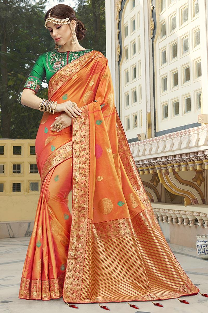 Function Wear Silk Fabric Trendy Orange Color Weaving Work Saree
