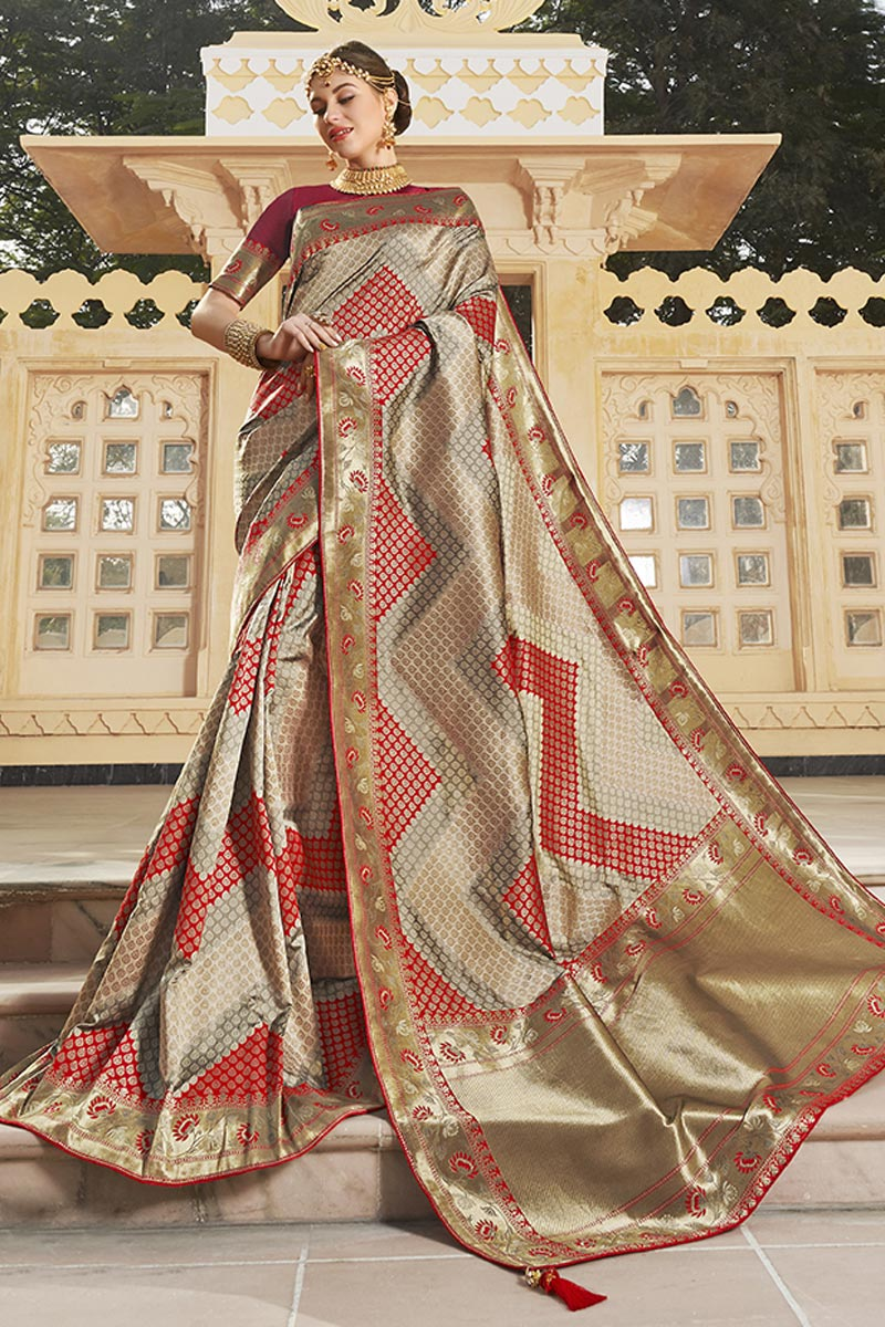 Silk Fabric Trendy Function Wear Beige Color Weaving Work Saree