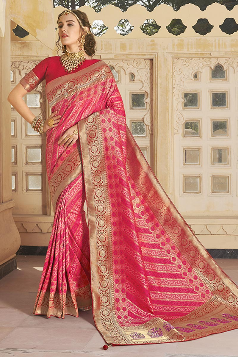 Silk Fabric Function Wear Trendy Pink Color Weaving Work Saree