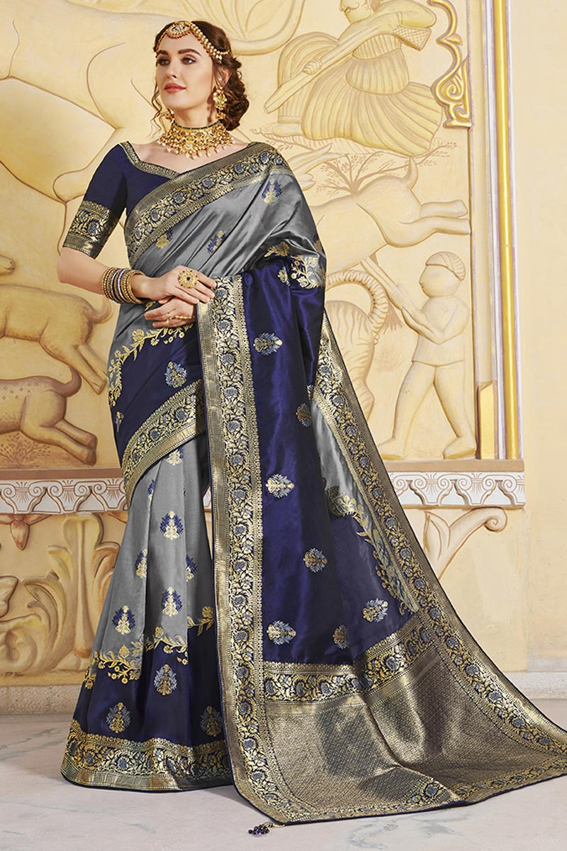 Function Wear Grey Color Trendy Silk Fabric Weaving Work Saree