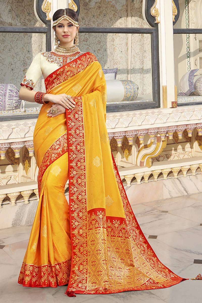 Function Wear Yellow Color Trendy Weaving Work Saree In Silk Fabric