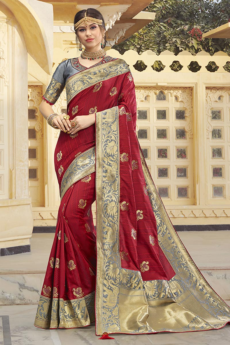 Silk Fabric Function Wear Trendy Maroon Color Weaving Work Saree