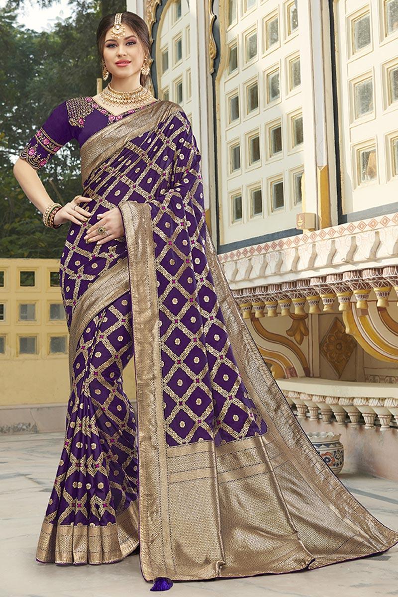Function Wear Silk Fabric Trendy Purple Color Weaving Work Saree