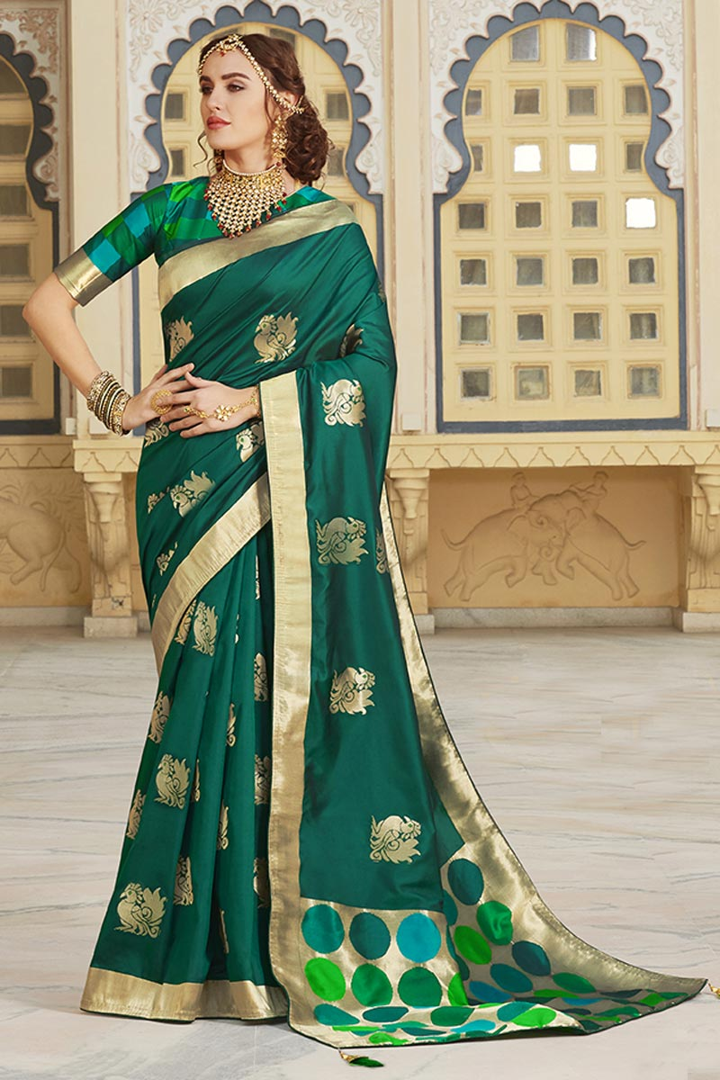 Function Wear Silk Fabric Trendy Weaving Work Saree In Teal Color