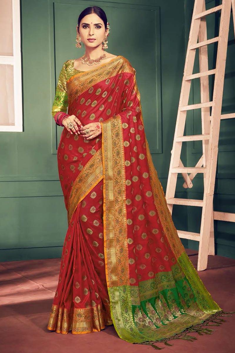 Red Festival Wear Fancy Art Silk Weaving Work Saree