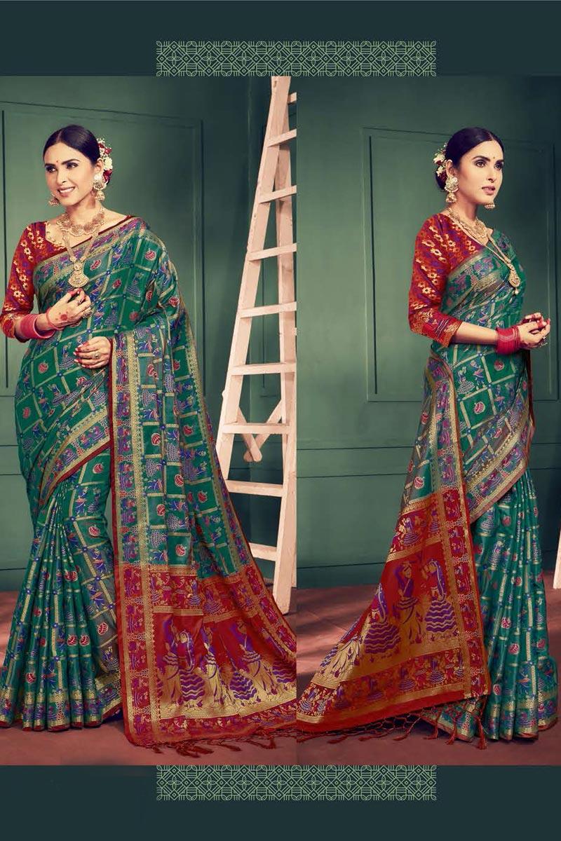 Festival Wear Fancy Teal Weaving Work Saree In Art Silk