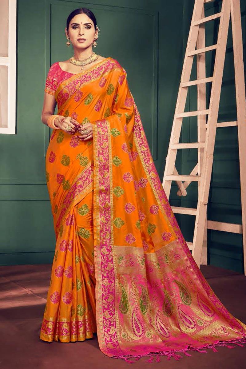 Art Silk Festival Wear Fancy Weaving Designs Orange Saree