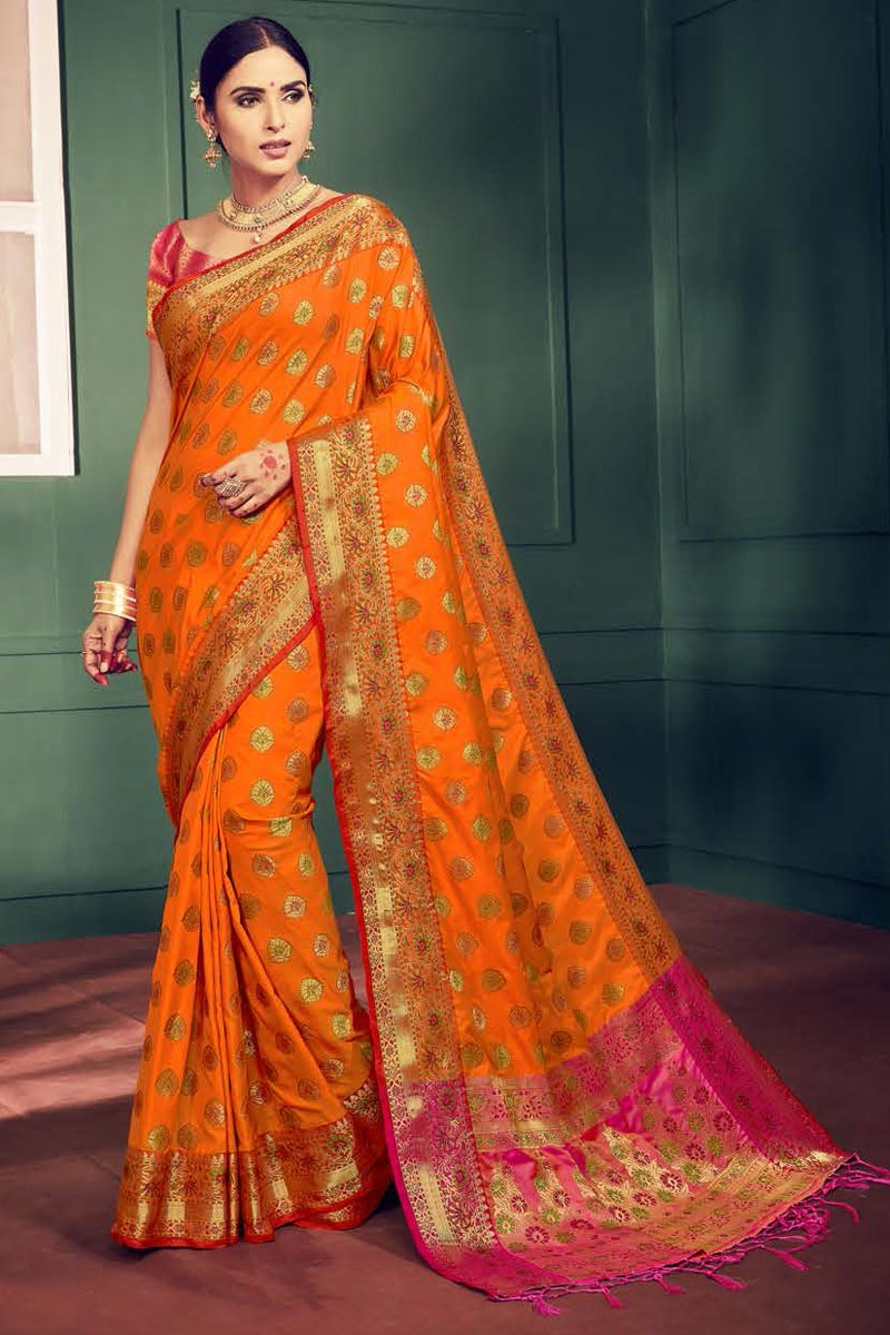 Festival Wear Fancy Art Silk Orange Saree With Weaving Work