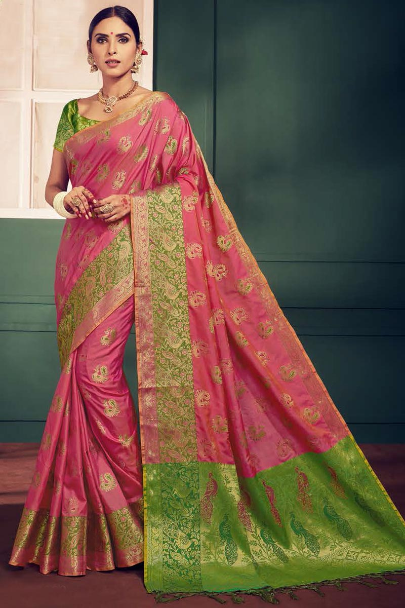 Art Silk Festival Wear Fancy Pink Weaving Work Saree