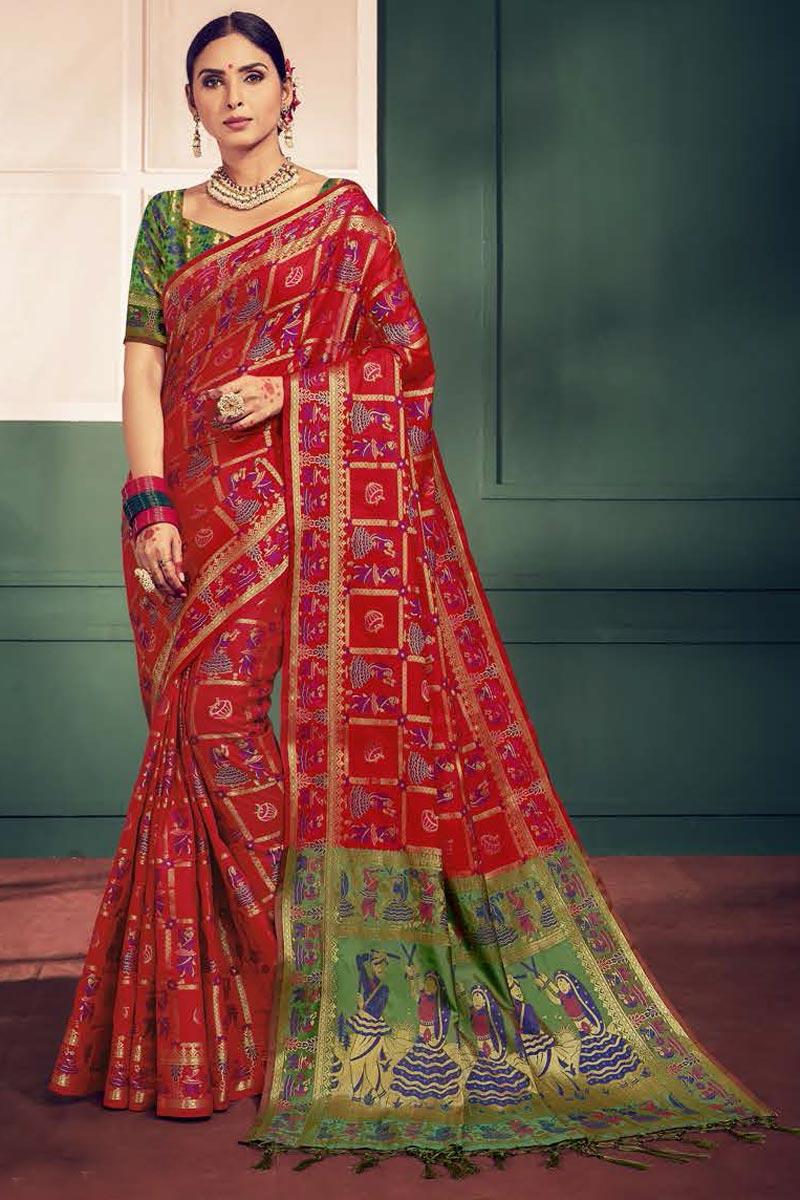 Red Festival Wear Fancy Weaving Designs Art Silk Saree