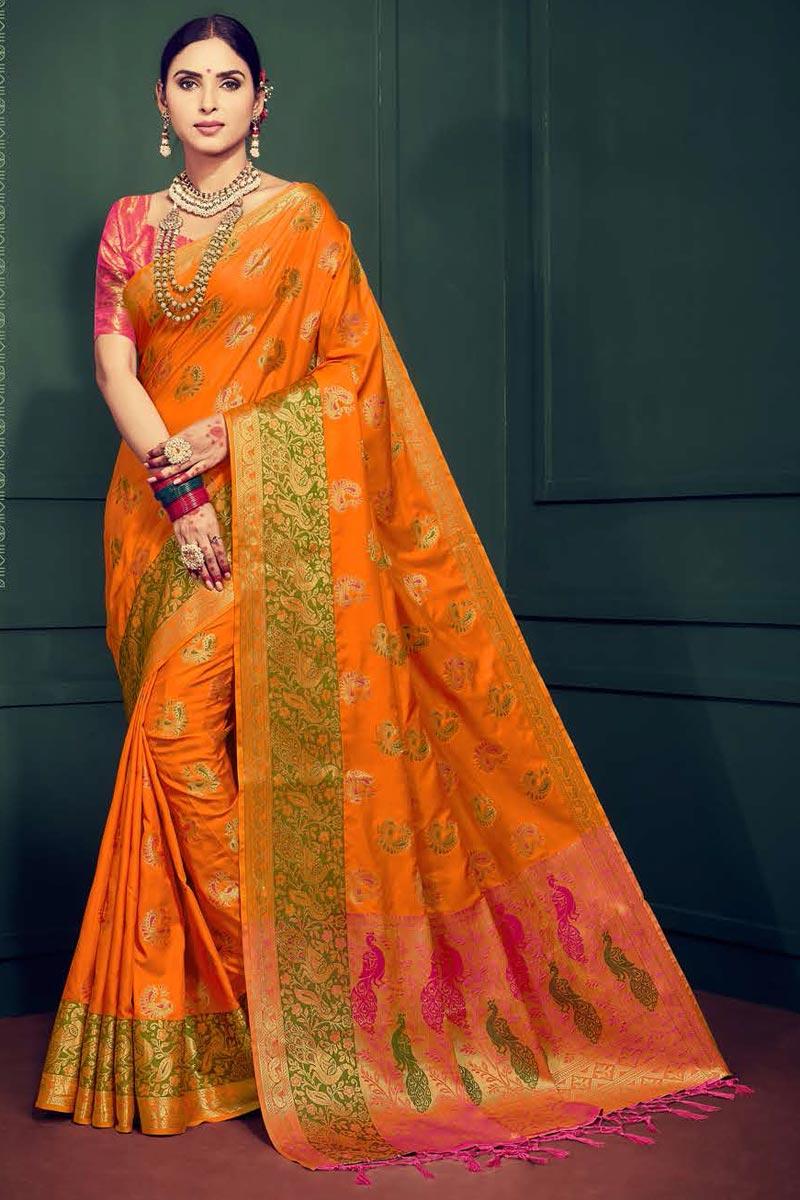 Festival Wear Fancy Orange Art Silk Saree With Weaving Work
