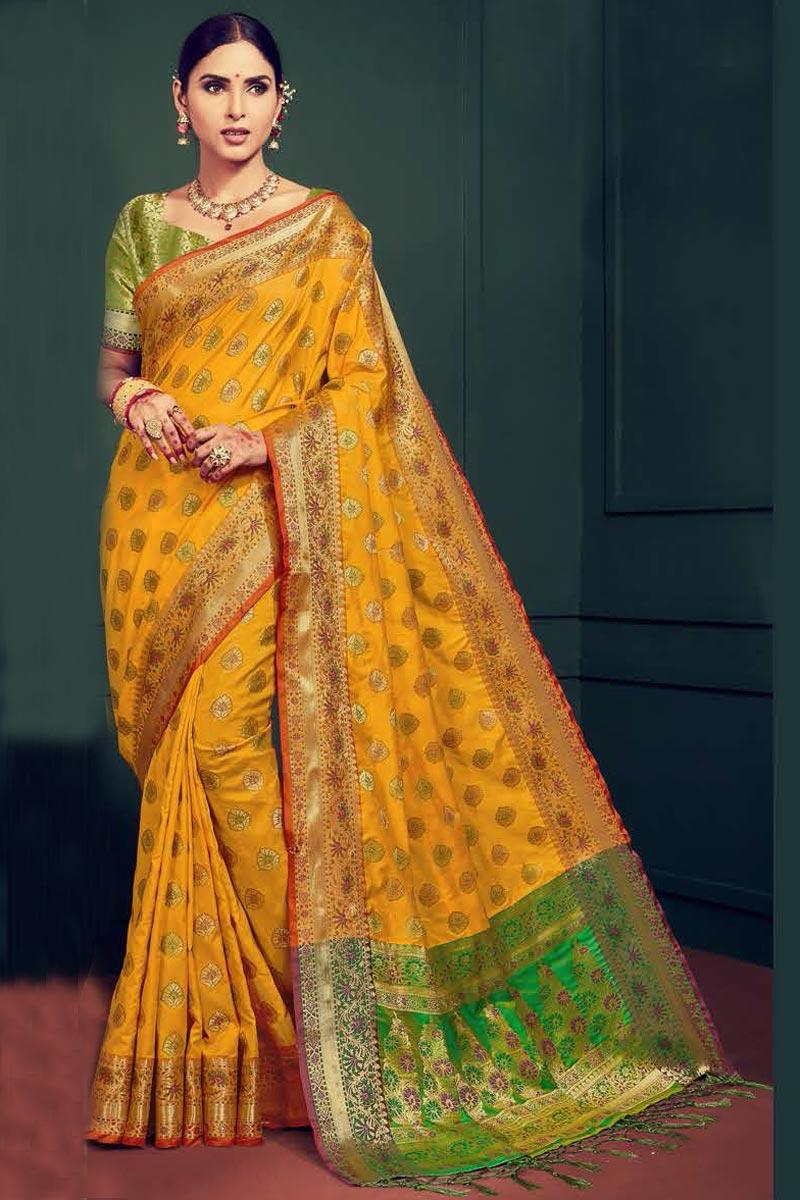 Festival Wear Fancy Yellow Saree In Art Silk With Weaving Work