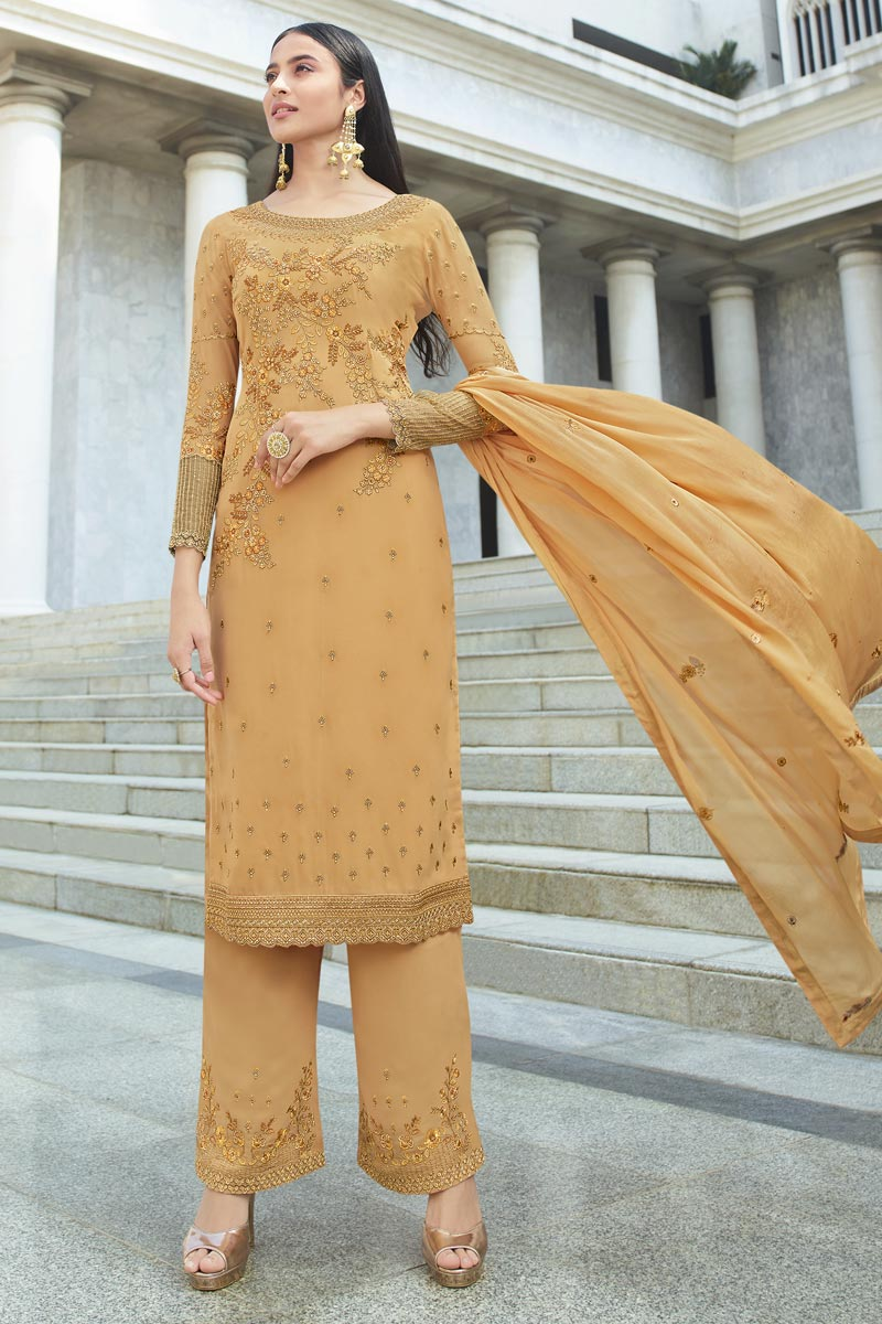 Georgette Fabric Reception Wear Chic Embroidered Palazzo Dress In Orange Color