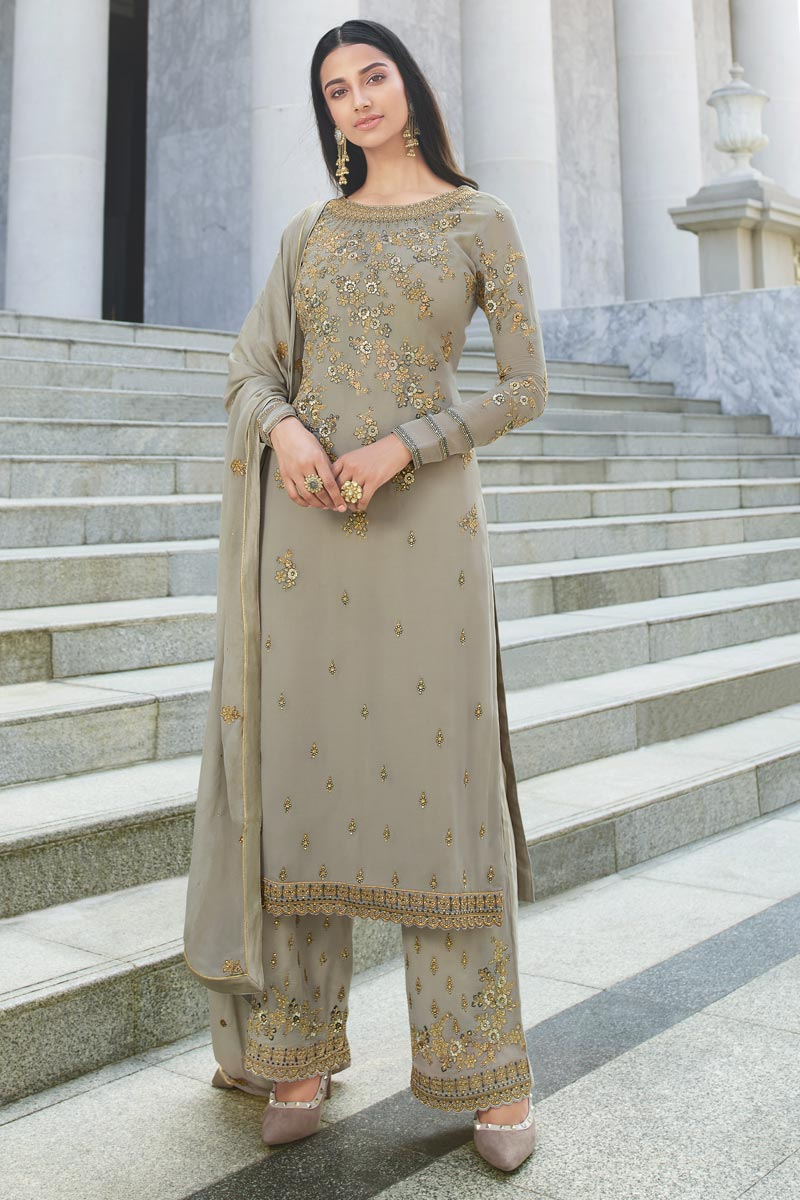 Chic Reception Wear Georgette Fabric Grey Color Embroidered Palazzo Suit