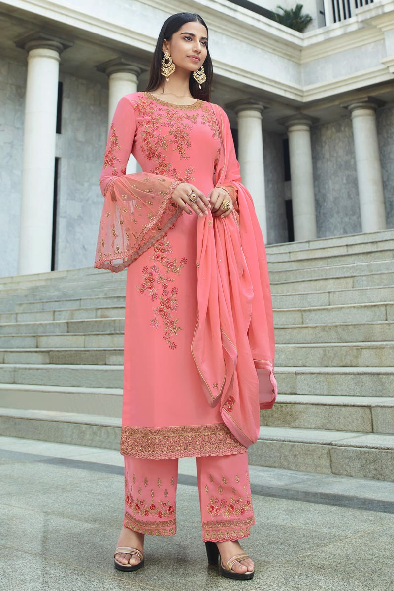 Chic Pink Color Reception Wear Embroidered Georgette Fabric Palazzo Suit